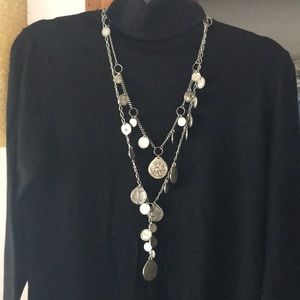 Chico's long strand coin necklace